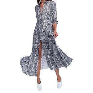 NWT ZARA Snakeskin Maxi Shirt Dress Gray MED